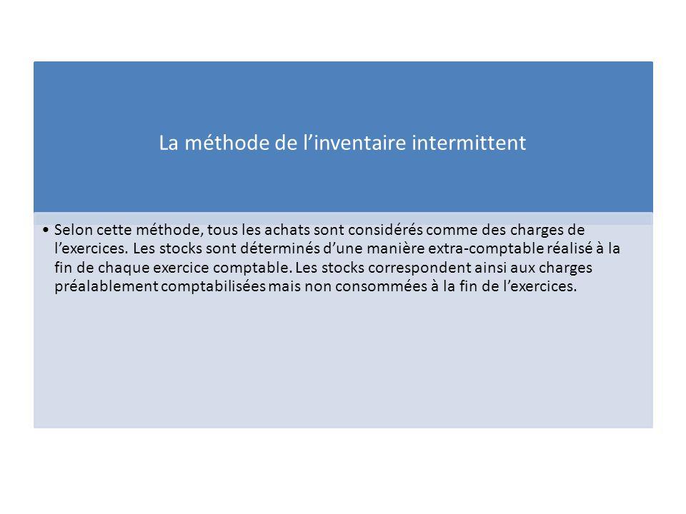 La méthode de linventaire intermittent Selon cette méthode, tous les achats sont considérés comme des charges de lexercices. Les stocks sont déterminé