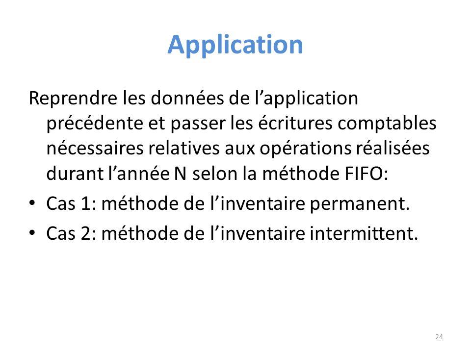 Application Reprendre les données de lapplication précédente et passer les écritures comptables nécessaires relatives aux opérations réalisées durant