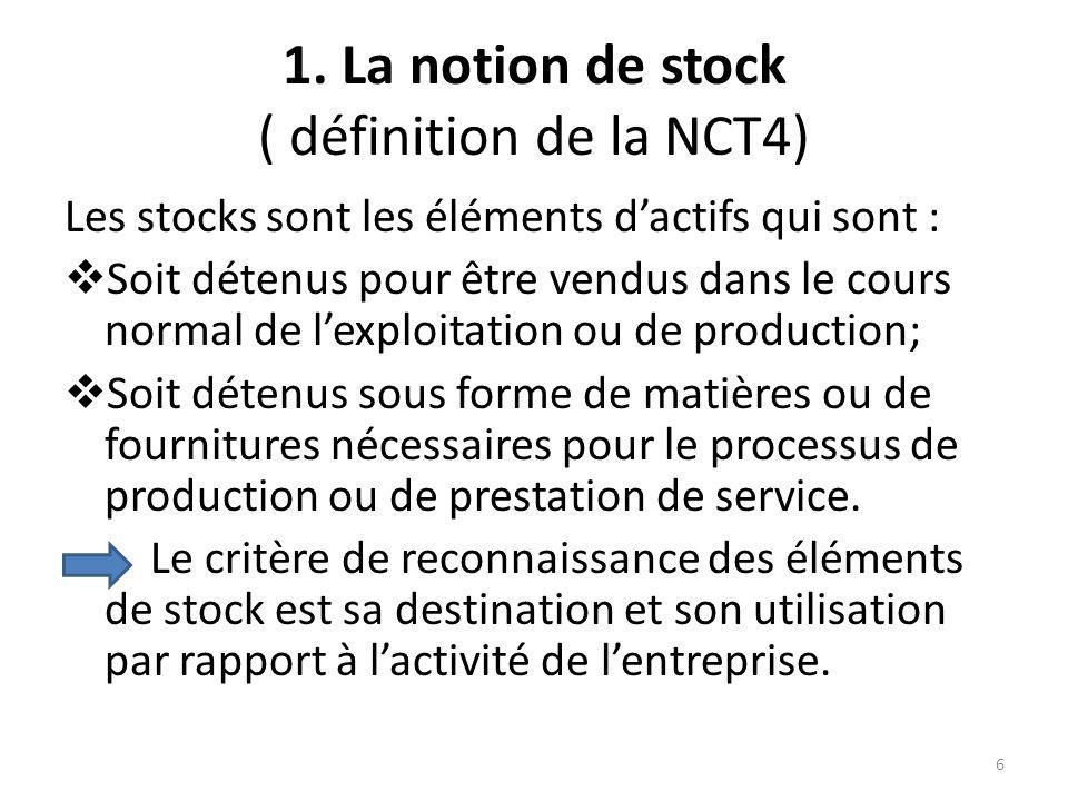 1. La notion de stock ( définition de la NCT4) Les stocks sont les éléments dactifs qui sont : Soit détenus pour être vendus dans le cours normal de l