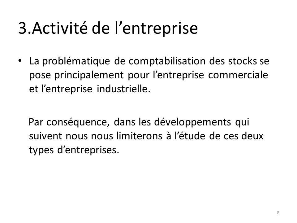3.Activité de lentreprise La problématique de comptabilisation des stocks se pose principalement pour lentreprise commerciale et lentreprise industrie