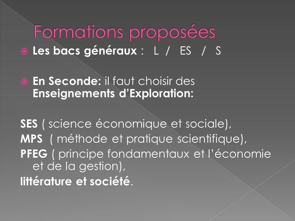 Les bacs généraux : L / ES / S En Seconde: il faut choisir des Enseignements dExploration: SES ( science économique et sociale), MPS ( méthode et prat