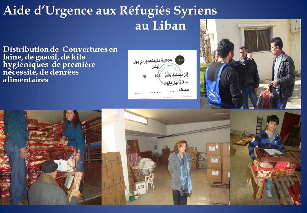 Aide dUrgence aux Réfugiés Syriens au Liban Distribution de Couvertures en laine, de gasoil, de kits hygiéniques de première nécessité, de denrées ali