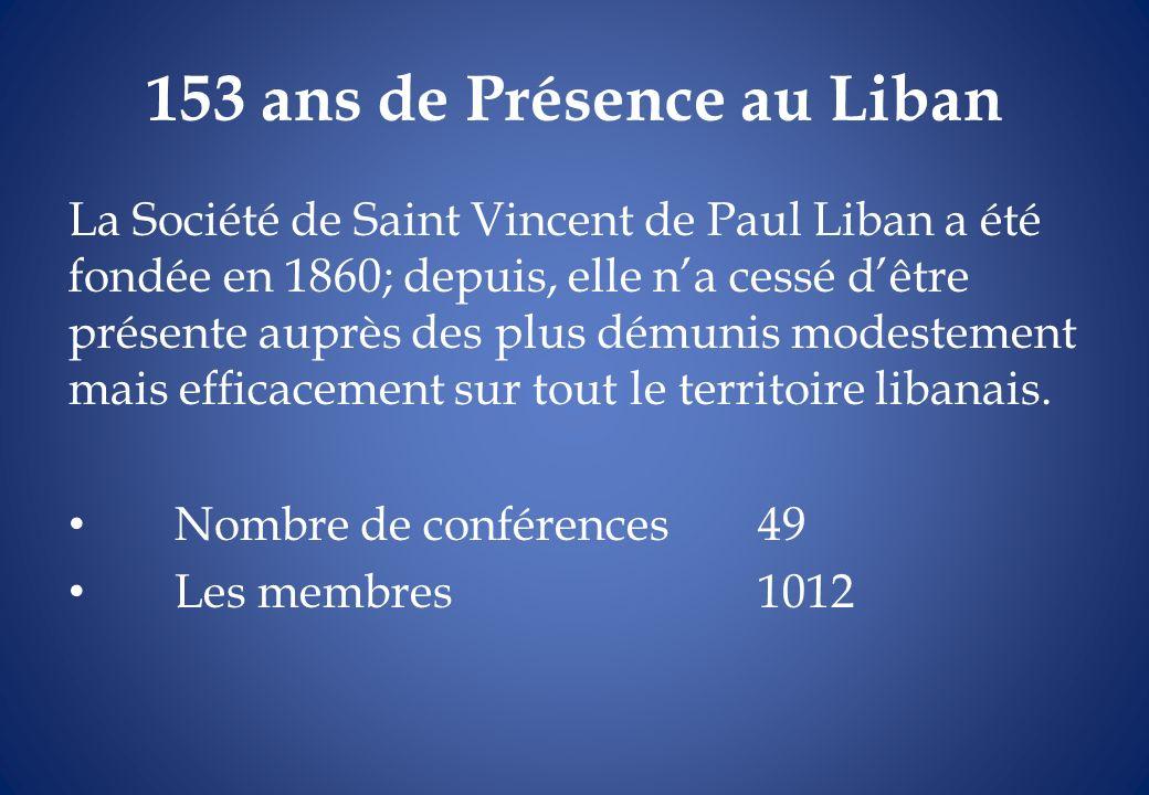 153 ans de Présence au Liban La Société de Saint Vincent de Paul Liban a été fondée en 1860; depuis, elle na cessé dêtre présente auprès des plus dému