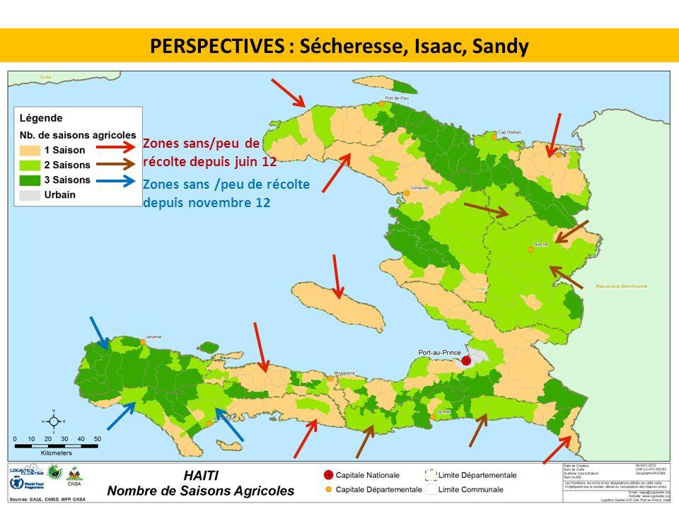 PERSPECTIVES : Sécheresse, Isaac, Sandy Zones sans /peu de récolte depuis novembre 12 Zones sans/peu de récolte depuis juin 12
