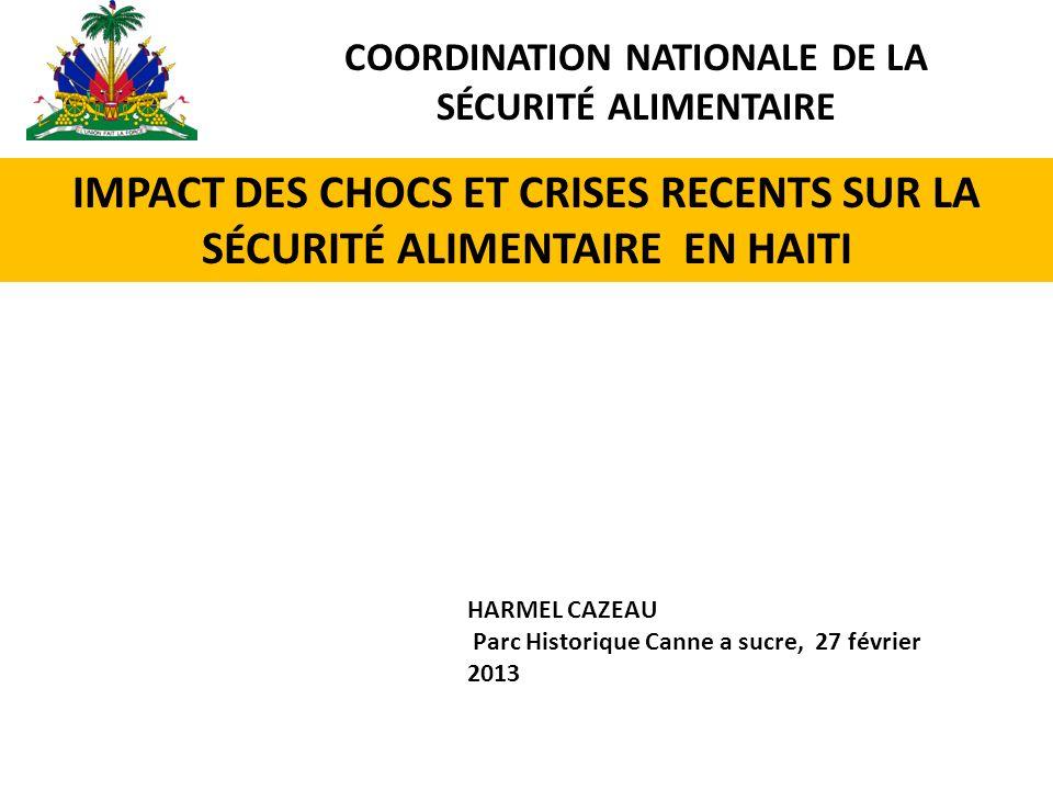 IMPACT DES CHOCS ET CRISES RECENTS SUR LA SÉCURITÉ ALIMENTAIRE EN HAITI HARMEL CAZEAU Parc Historique Canne a sucre, 27 février 2013 COORDINATION NATIONALE DE LA SÉCURITÉ ALIMENTAIRE