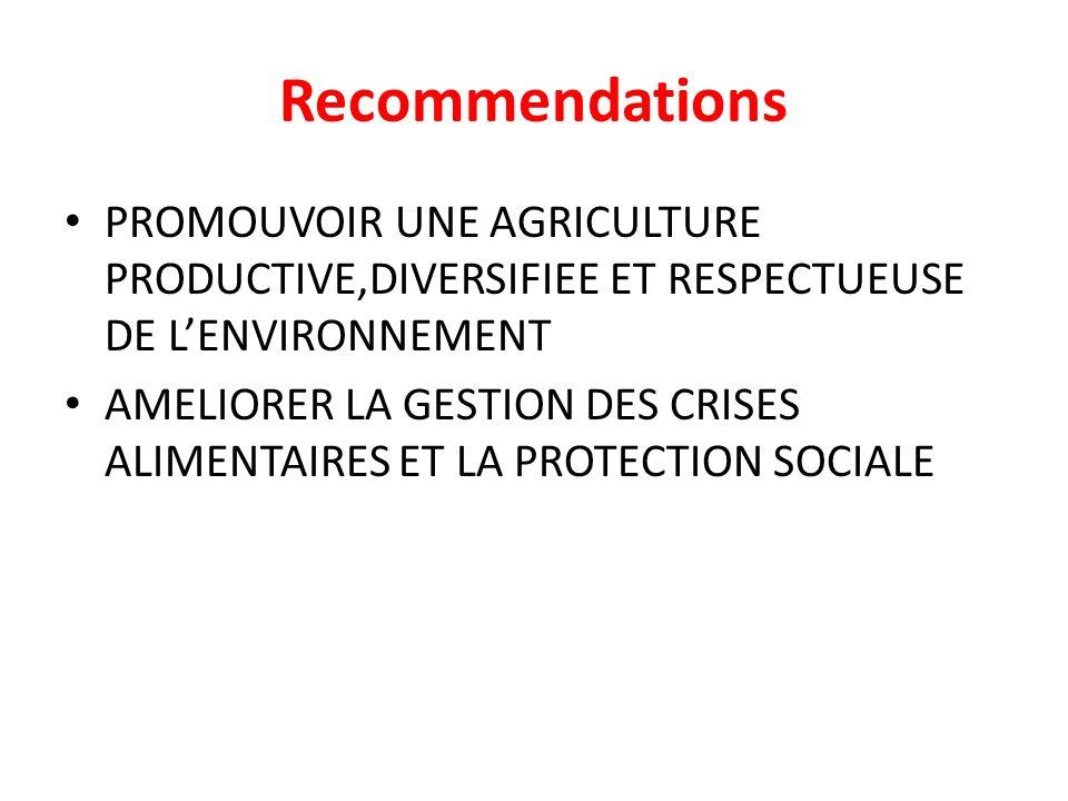 Recommendations PROMOUVOIR UNE AGRICULTURE PRODUCTIVE,DIVERSIFIEE ET RESPECTUEUSE DE LENVIRONNEMENT AMELIORER LA GESTION DES CRISES ALIMENTAIRES ET LA PROTECTION SOCIALE