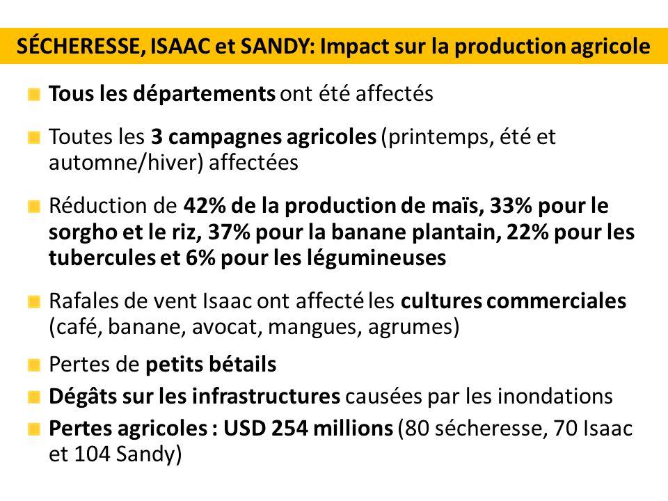 Tous les départements ont été affectés Toutes les 3 campagnes agricoles (printemps, été et automne/hiver) affectées Réduction de 42% de la production de maïs, 33% pour le sorgho et le riz, 37% pour la banane plantain, 22% pour les tubercules et 6% pour les légumineuses Rafales de vent Isaac ont affecté les cultures commerciales (café, banane, avocat, mangues, agrumes) Pertes de petits bétails Dégâts sur les infrastructures causées par les inondations Pertes agricoles : USD 254 millions (80 sécheresse, 70 Isaac et 104 Sandy) SÉCHERESSE, ISAAC et SANDY: Impact sur la production agricole
