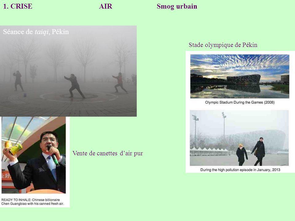 1. CRISE AIR Smog urbain Séance de taiqi, Pékin Stade olympique de Pékin Vente de canettes dair pur