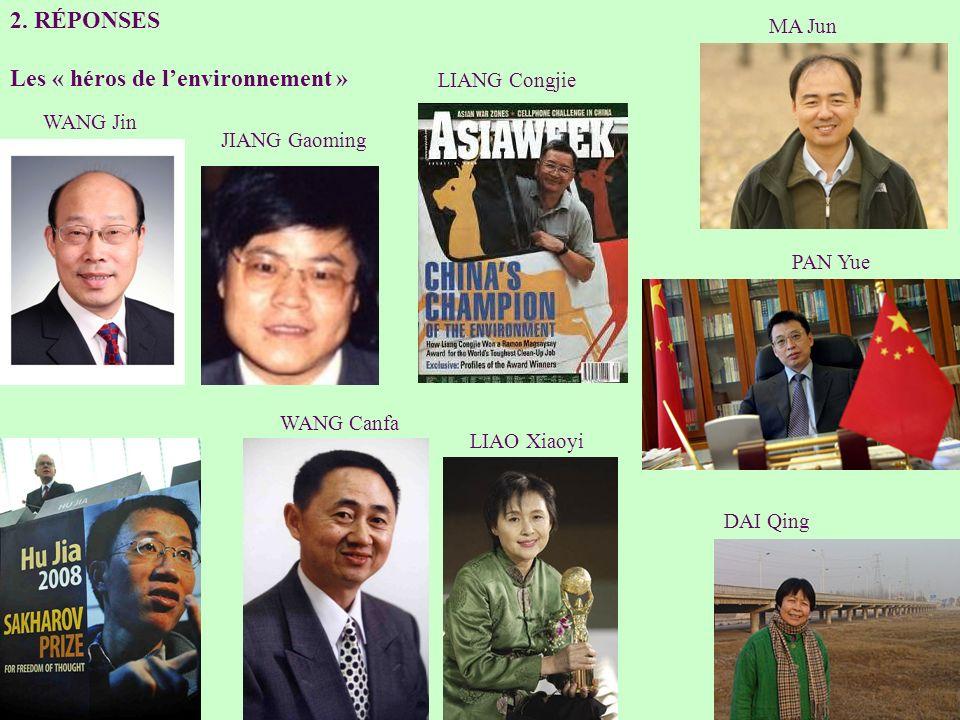 2. RÉPONSES Les « héros de lenvironnement » WANG Jin LIANG Congjie PAN Yue JIANG Gaoming MA Jun WANG Canfa LIAO Xiaoyi DAI Qing