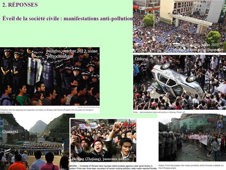 2. RÉPONSES Éveil de la société civile : manifestations anti-pollution Guangxi Qidong (Jiangsu), juillet 2012, pipeline deaux usées (papeterie) Qidong