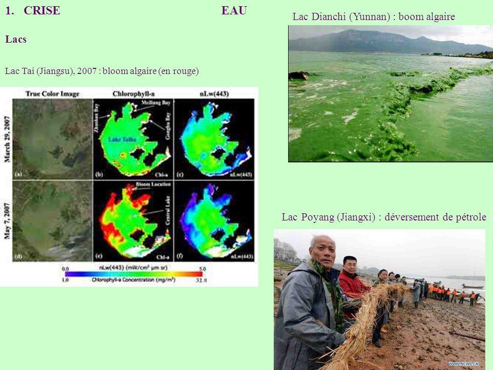 1.CRISE EAU Lacs Lac Tai (Jiangsu), 2007 : bloom algaire (en rouge) Lac Dianchi (Yunnan) : boom algaire Lac Poyang (Jiangxi) : déversement de pétrole