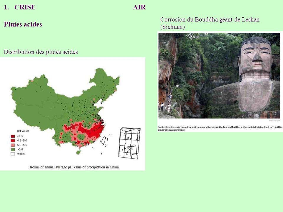 1.CRISE AIR Pluies acides Corrosion du Bouddha géant de Leshan (Sichuan) Distribution des pluies acides