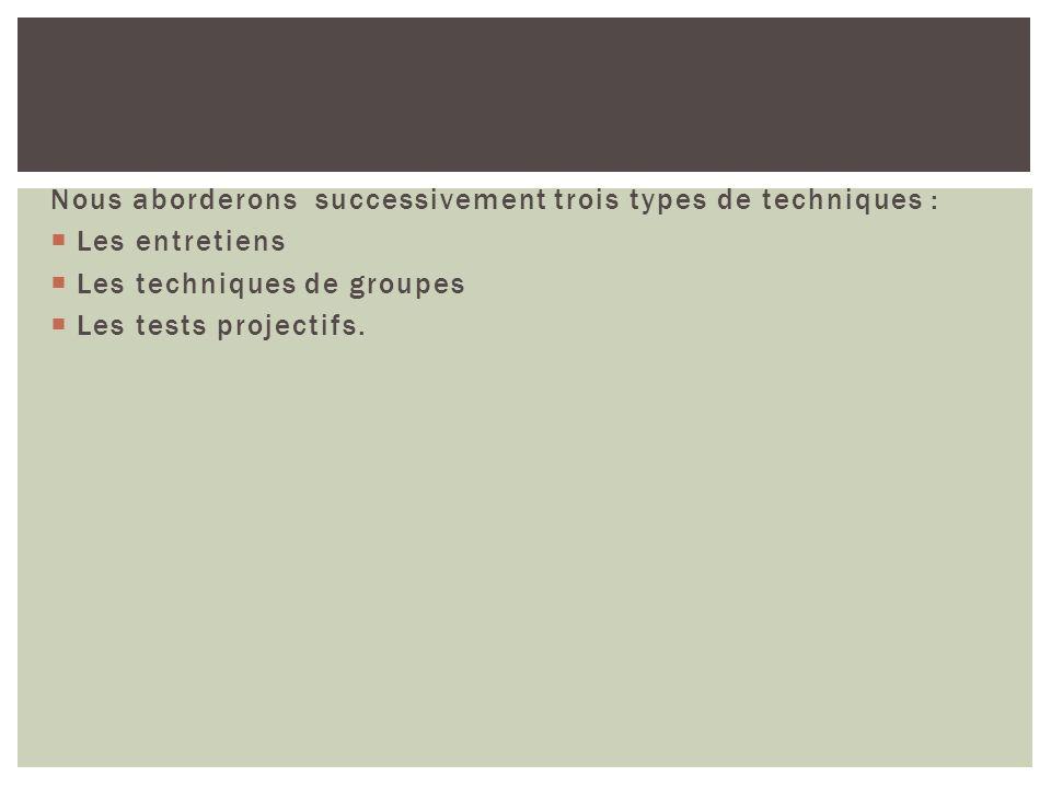 Nous aborderons successivement trois types de techniques : Les entretiens Les techniques de groupes Les tests projectifs.