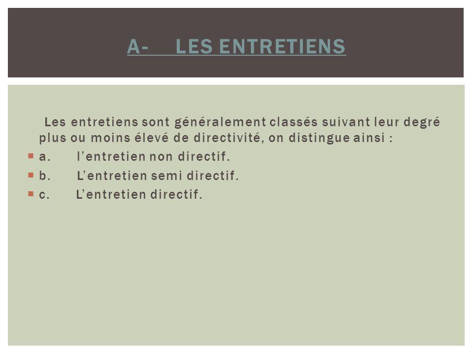 A- LES ENTRETIENS Les entretiens sont généralement classés suivant leur degré plus ou moins élevé de directivité, on distingue ainsi : a. lentretien n