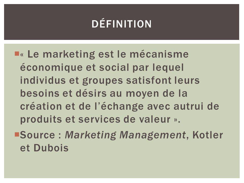 « Le marketing est le mécanisme économique et social par lequel individus et groupes satisfont leurs besoins et désirs au moyen de la création et de l