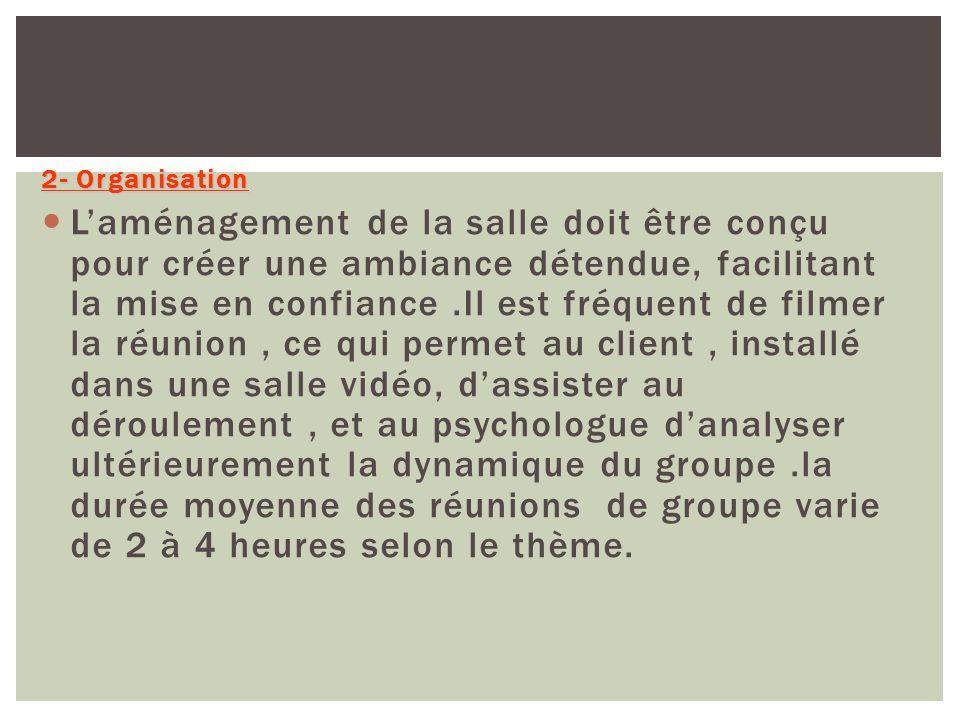 2- Organisation Laménagement de la salle doit être conçu pour créer une ambiance détendue, facilitant la mise en confiance.Il est fréquent de filmer l