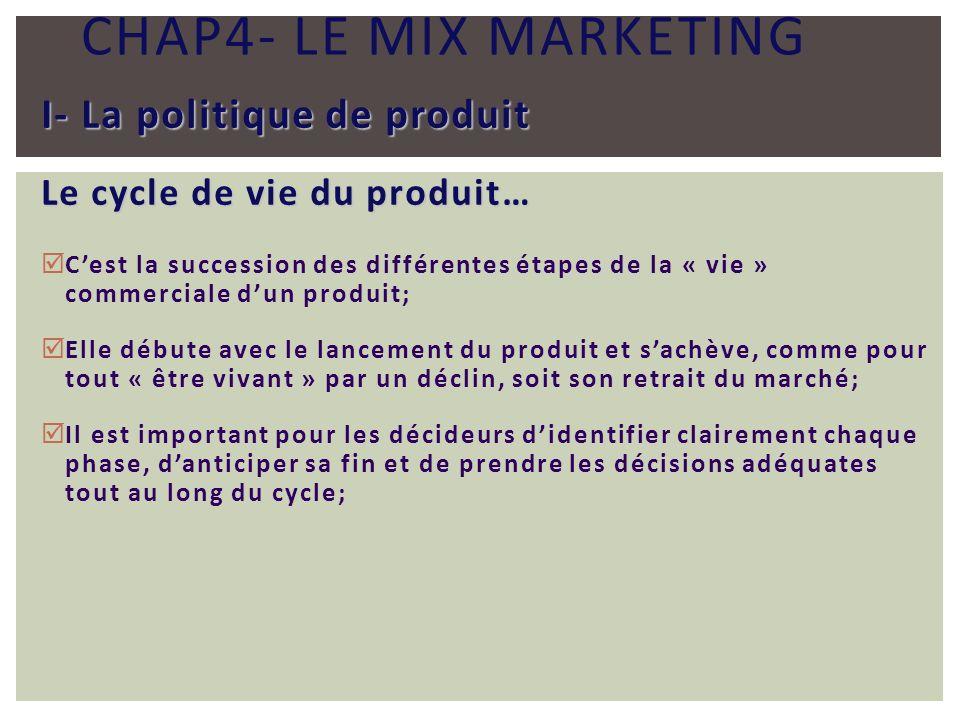 CHAP4- LE MIX MARKETING I- La politique de produit Le cycle de vie du produit… Cest la succession des différentes étapes de la « vie » commerciale dun