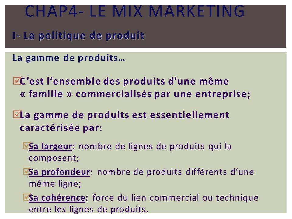 CHAP4- LE MIX MARKETING I- La politique de produit La gamme de produits… Cest lensemble des produits dune même « famille » commercialisés par une entr