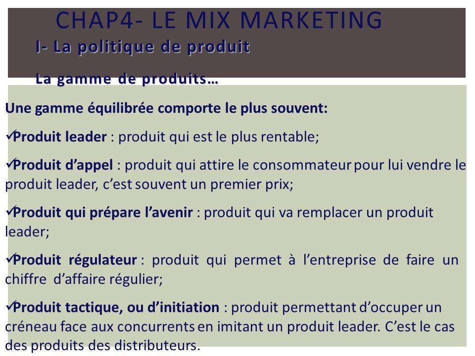 CHAP4- LE MIX MARKETING I- La politique de produit La gamme de produits… Une gamme équilibrée comporte le plus souvent: Produit leader : produit qui e