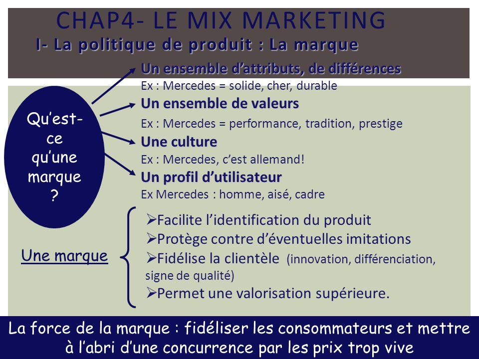 CHAP4- LE MIX MARKETING I- La politique de produit : La marque Quest- ce quune marque ? Un ensemble dattributs, de différences Ex : Mercedes = solide,