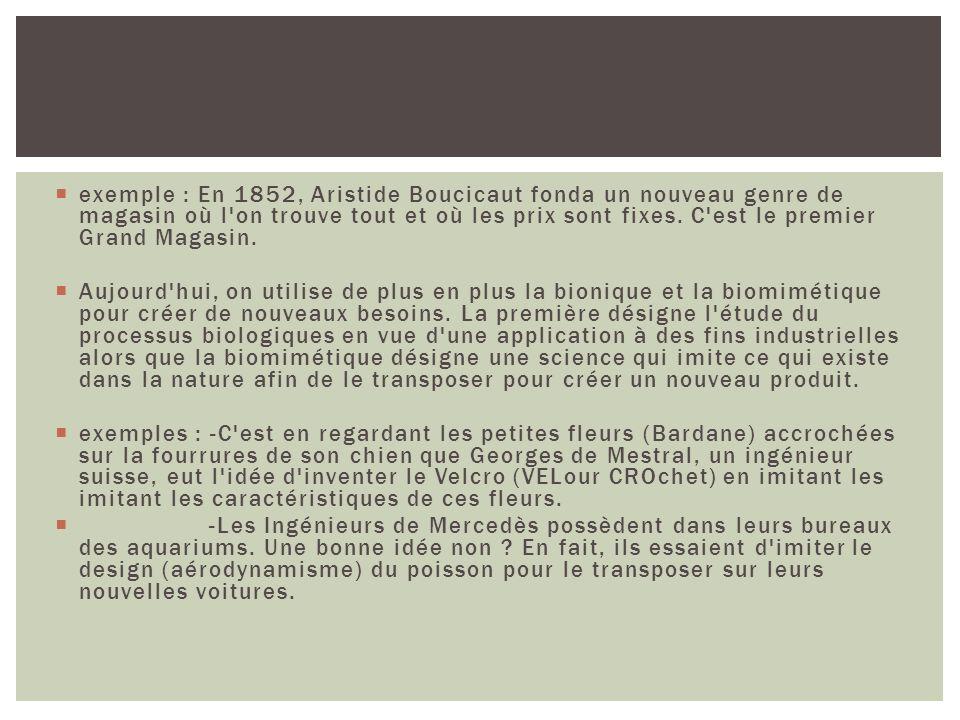 exemple : En 1852, Aristide Boucicaut fonda un nouveau genre de magasin où l'on trouve tout et où les prix sont fixes. C'est le premier Grand Magasin.