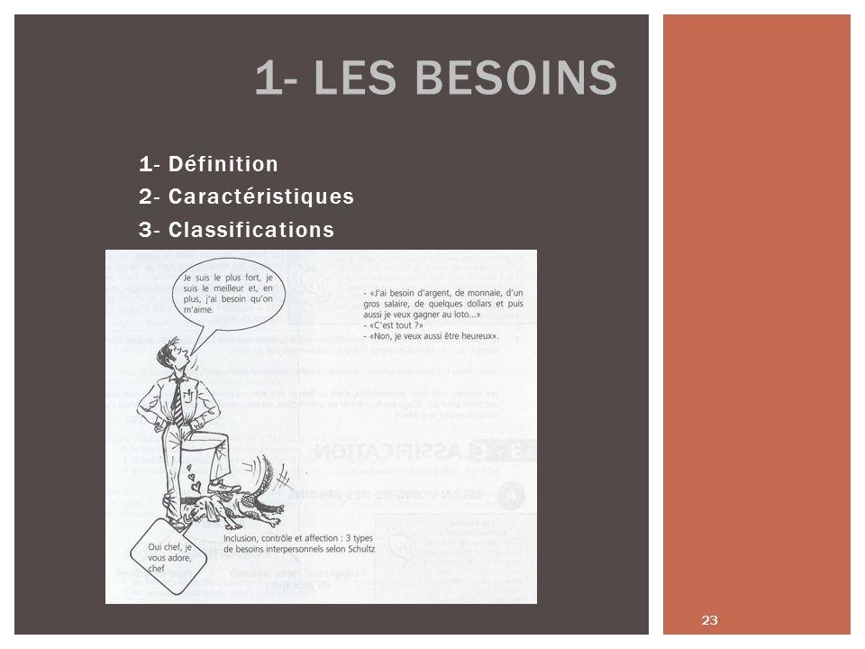 1- Définition 2- Caractéristiques 3- Classifications 23 1- LES BESOINS