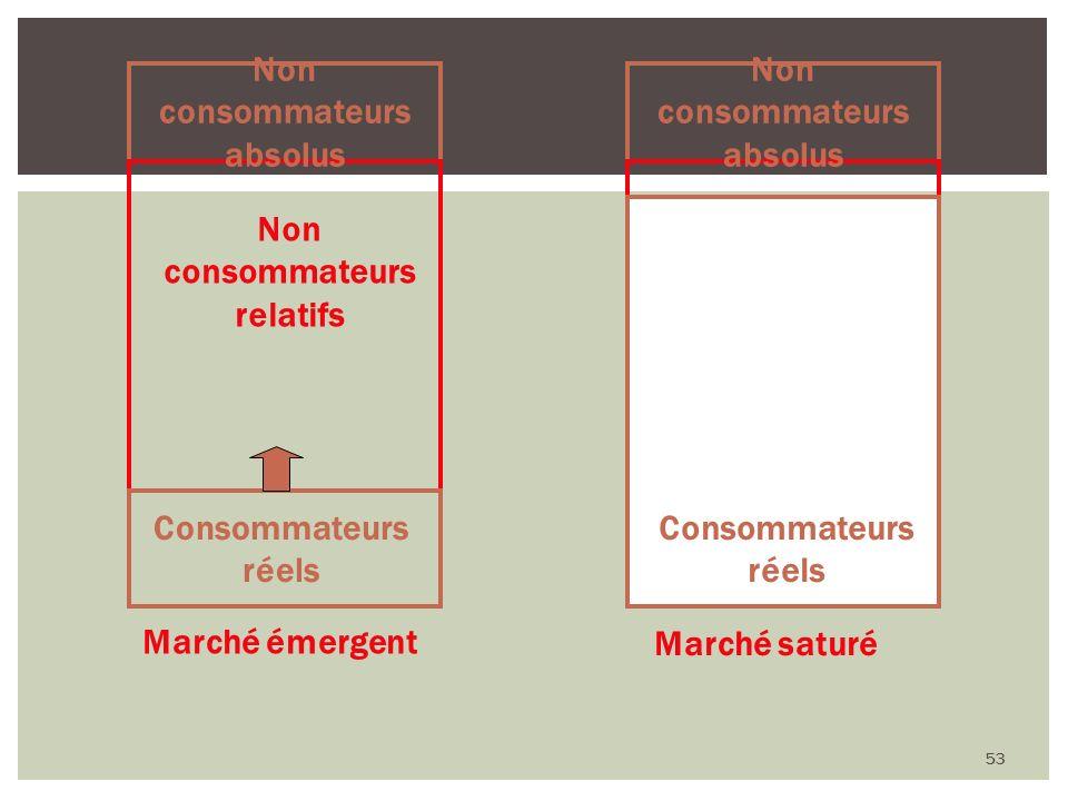 53 Non consommateurs relatifs Non consommateurs absolus Marché saturé Non consommateurs relatifs Consommateurs réels Non consommateurs absolus Marché