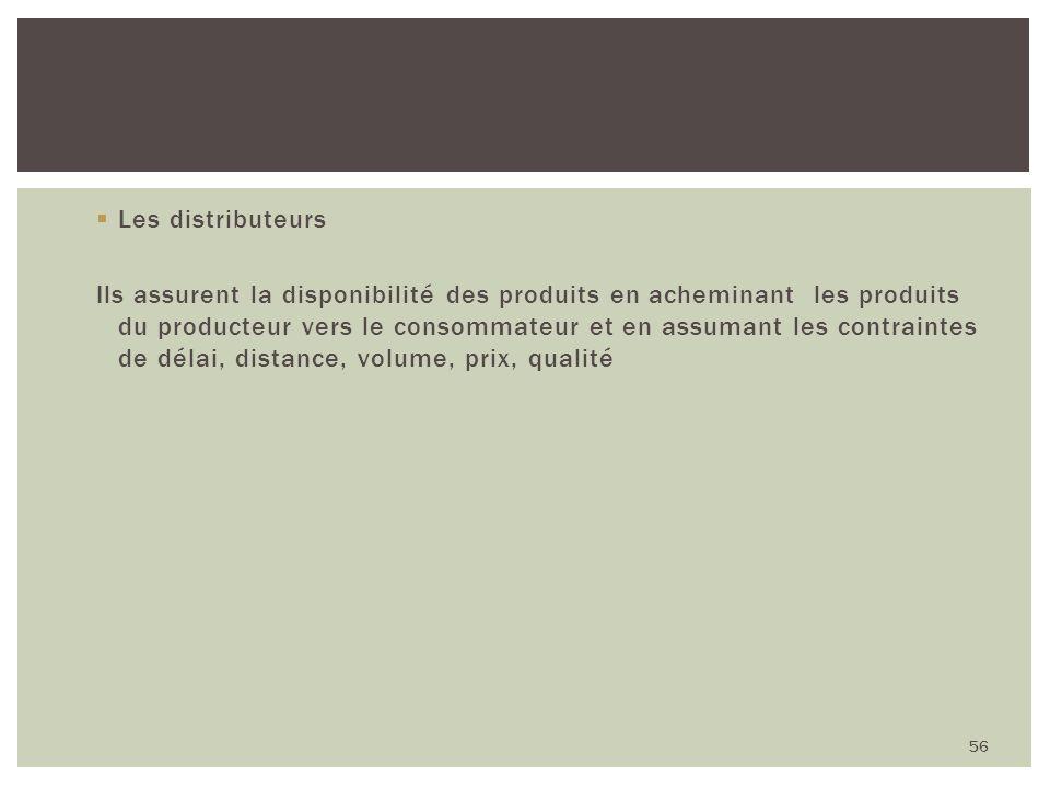 Les distributeurs Ils assurent la disponibilité des produits en acheminant les produits du producteur vers le consommateur et en assumant les contrain
