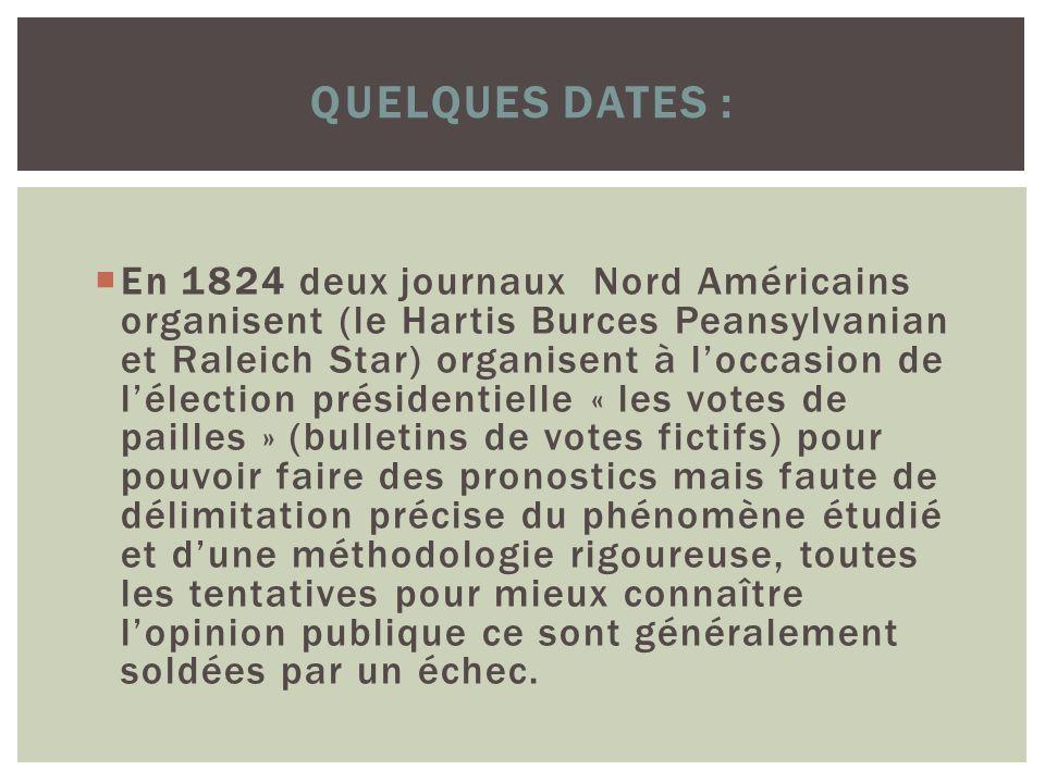 QUELQUES DATES : En 1824 deux journaux Nord Américains organisent (le Hartis Burces Peansylvanian et Raleich Star) organisent à loccasion de lélection