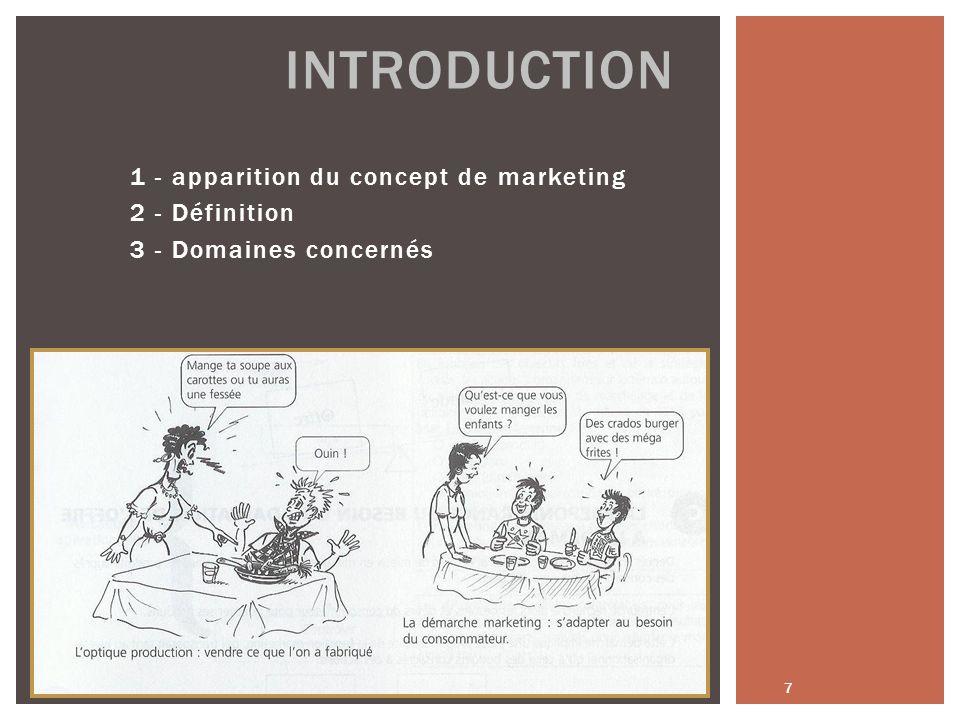 1 - apparition du concept de marketing 2 - Définition 3 - Domaines concernés 7 INTRODUCTION