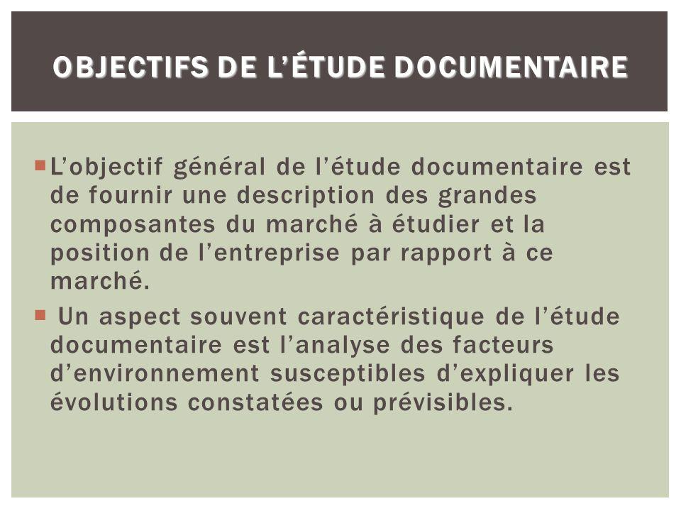 OBJECTIFS DE LÉTUDE DOCUMENTAIRE Lobjectif général de létude documentaire est de fournir une description des grandes composantes du marché à étudier e