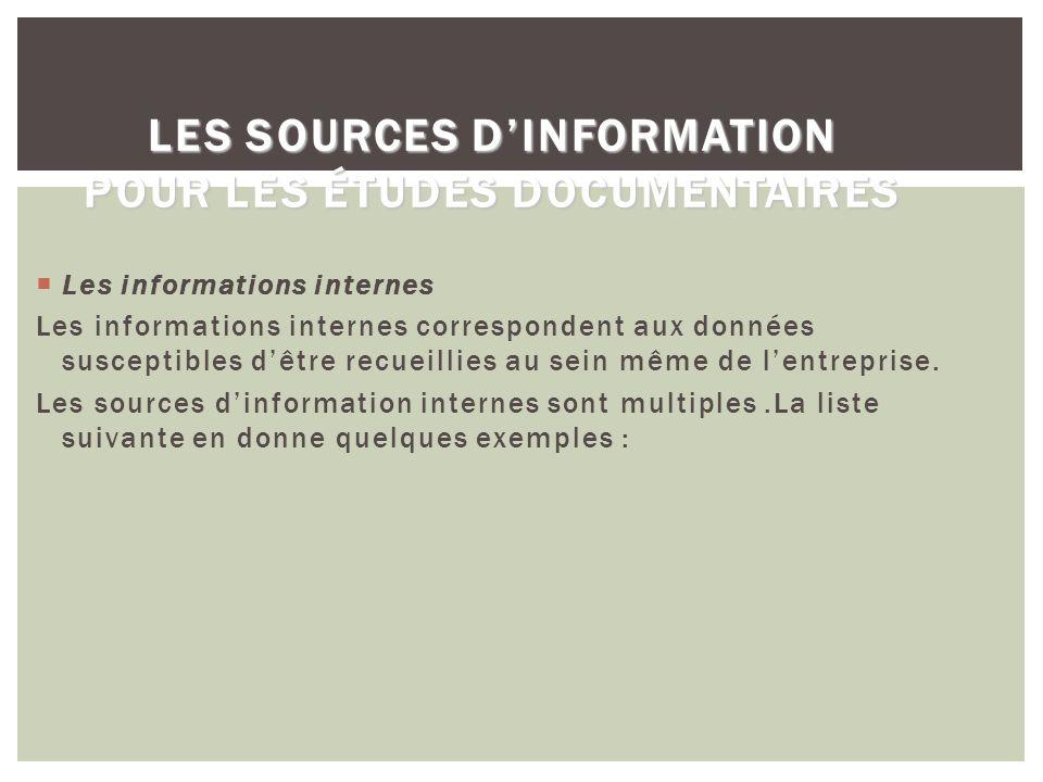 LES SOURCES DINFORMATION POUR LES ÉTUDES DOCUMENTAIRES LES SOURCES DINFORMATION POUR LES ÉTUDES DOCUMENTAIRES Les informations internes Les informatio
