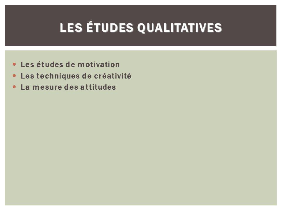 LES ÉTUDES QUALITATIVES Les études de motivation Les techniques de créativité La mesure des attitudes