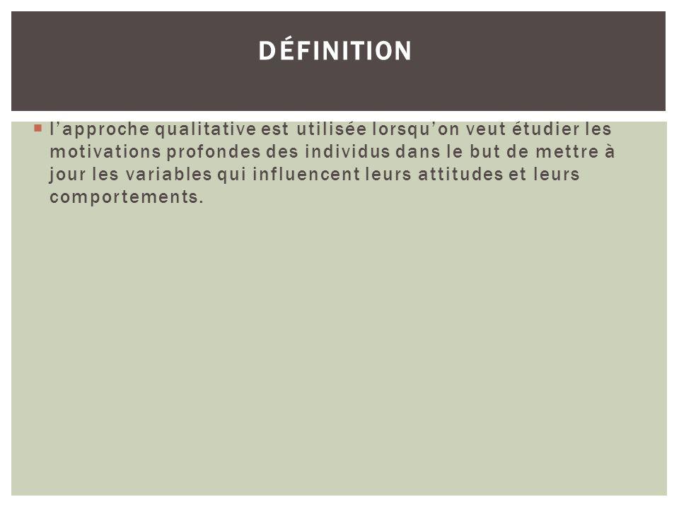 DÉFINITION lapproche qualitative est utilisée lorsquon veut étudier les motivations profondes des individus dans le but de mettre à jour les variables
