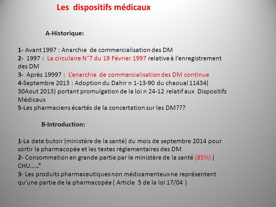 Les dispositifs médicaux A-Historique: 1- Avant 1997 : Anarchie de commercialisation des DM 2- 1997 : La circulaire N°7 du 19 Février 1997 relative à