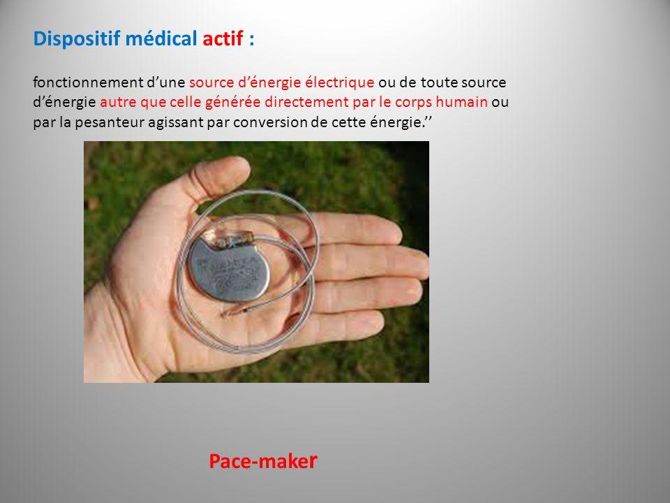 Dispositif médical actif : fonctionnement dune source dénergie électrique ou de toute source dénergie autre que celle générée directement par le corps
