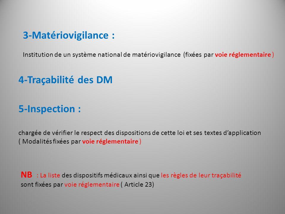 3-Matériovigilance : Institution de un système national de matériovigilance (fixées par voie réglementaire ) 4-Traçabilité des DM NB : La liste des di