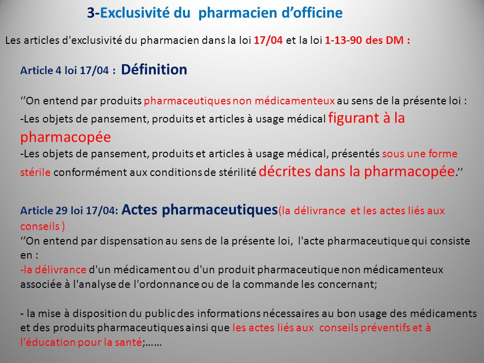 Article 30 loi 17/04 : englobe toute lexclusivité du pharmacien Sont réservées exclusivement aux pharmaciens d officine: - La préparation des médicaments visés aux 1, 2, et 3 de l article 2 ci- dessus.