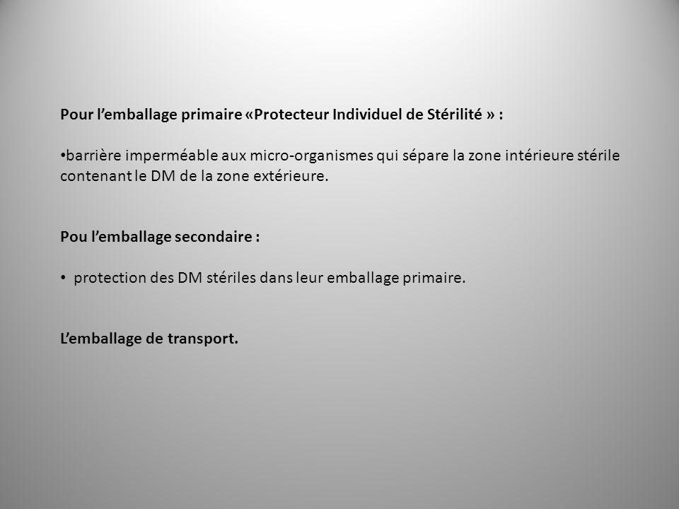 Pour lemballage primaire «Protecteur Individuel de Stérilité » : barrière imperméable aux micro-organismes qui sépare la zone intérieure stérile conte