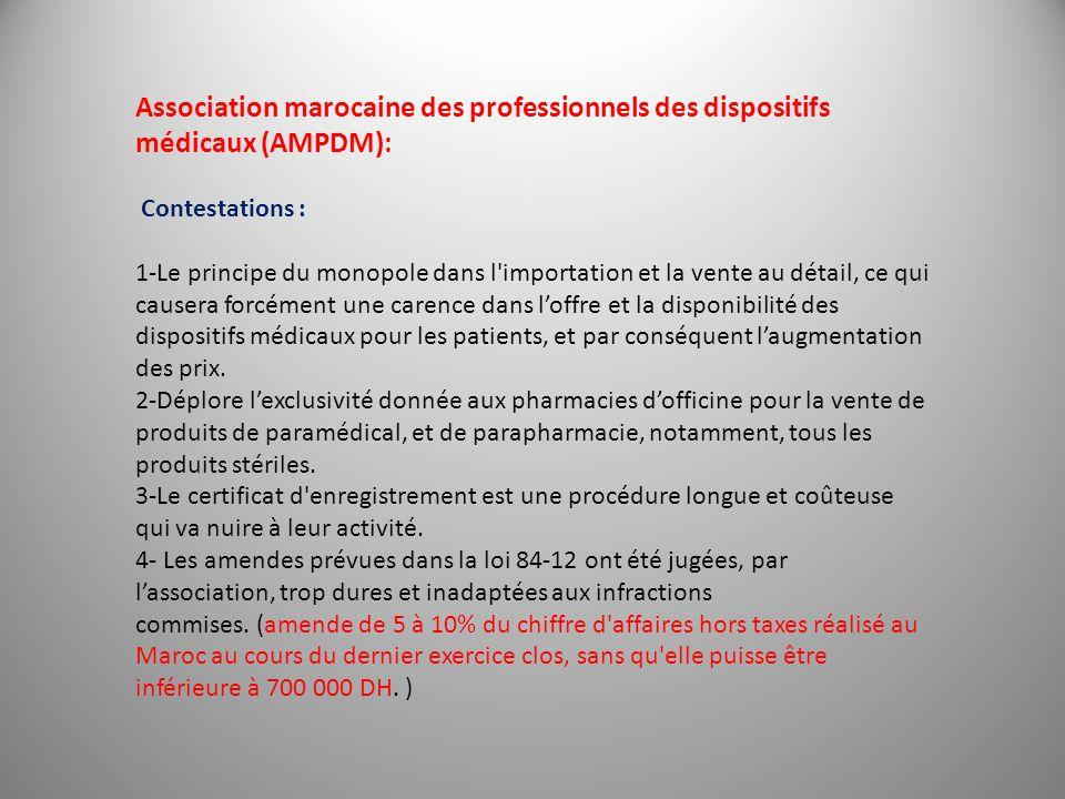 Association marocaine des professionnels des dispositifs médicaux (AMPDM): Contestations : 1-Le principe du monopole dans l'importation et la vente au