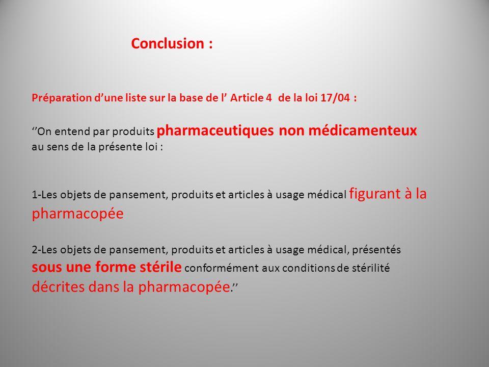 Conclusion : Préparation dune liste sur la base de l Article 4 de la loi 17/04 : On entend par produits pharmaceutiques non médicamenteux au sens de l