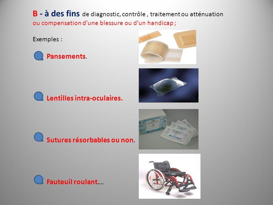 B - à des fins de diagnostic, contrôle, traitement ou atténuation ou compensation dune blessure ou dun handicap ; Exemples : Pansements. Lentilles int
