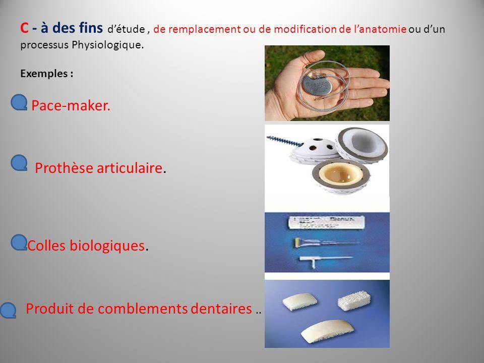 C - à des fins détude, de remplacement ou de modification de lanatomie ou dun processus Physiologique. Exemples : Pace-maker. Prothèse articulaire. Co