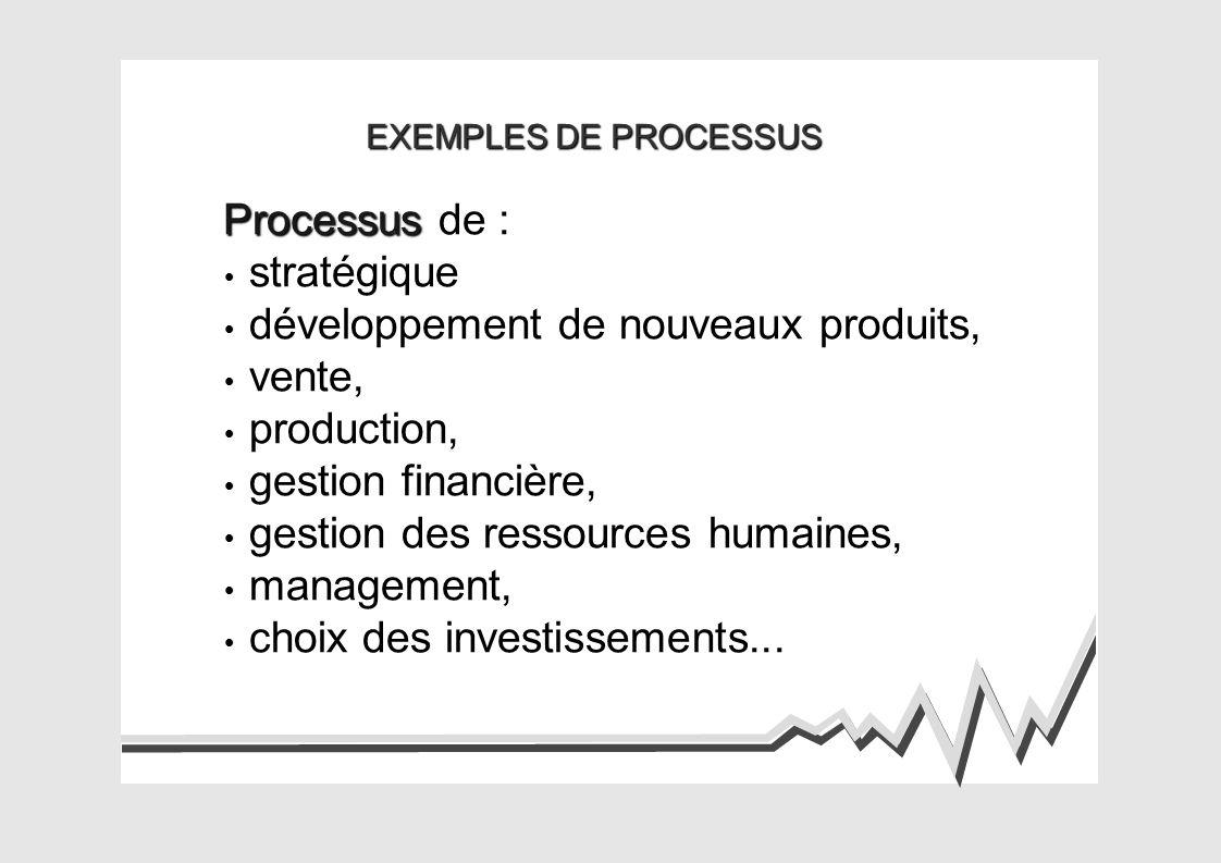 EXEMPLES DE PROCESSUS Processus Processus de : stratégique développement de nouveaux produits, vente, production, gestion financière, gestion des ressources humaines, management, choix des investissements...