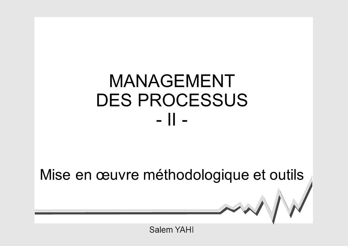 MANAGEMENT DES PROCESSUS - II - Mise en œuvre méthodologique et outils Salem YAHI