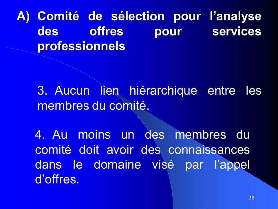 28 A)Comité de sélection pour lanalyse des offres pour services professionnels 3.Aucun lien hiérarchique entre les membres du comité.