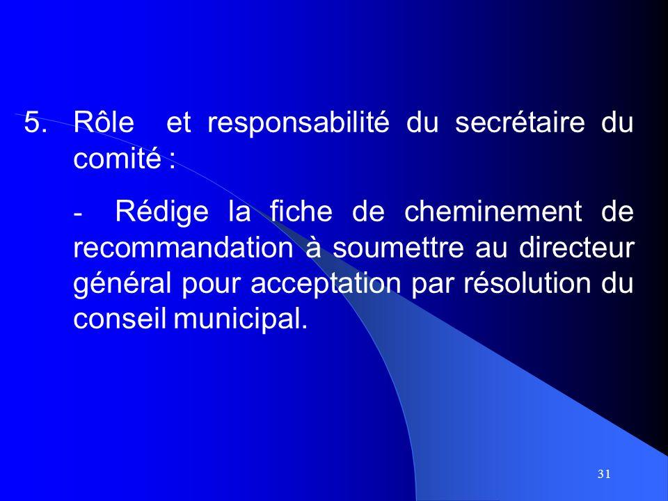 31 5.Rôle et responsabilité du secrétaire du comité : - Rédige la fiche de cheminement de recommandation à soumettre au directeur général pour acceptation par résolution du conseil municipal.