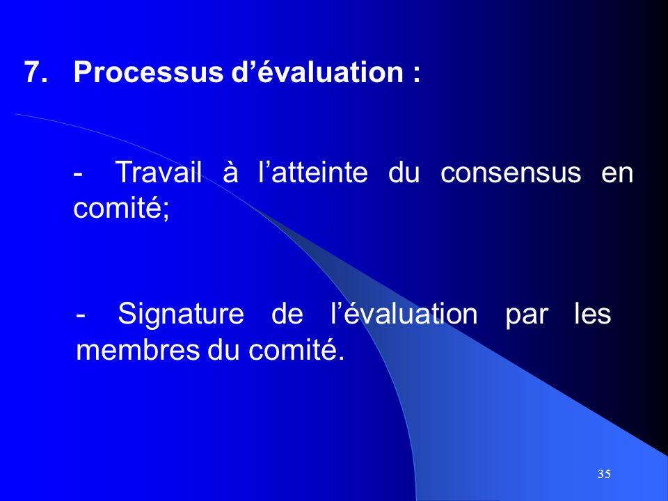 35 7.Processus dévaluation : -Signature de lévaluation par les membres du comité.
