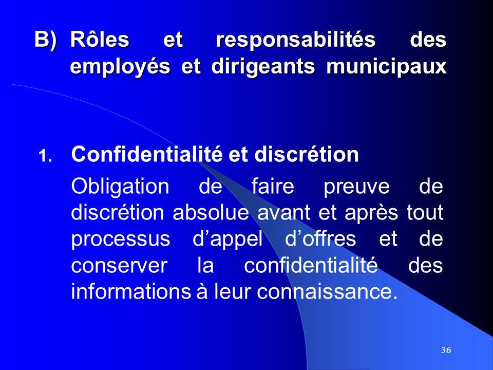 36 B)Rôles et responsabilités des employés et dirigeants municipaux 1.