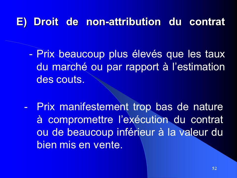 52 E)Droit de non-attribution du contrat -Prix beaucoup plus élevés que les taux du marché ou par rapport à lestimation des couts.